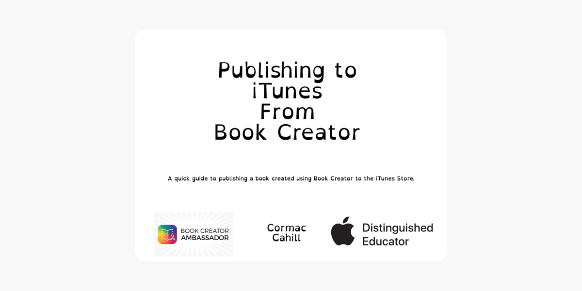 Publishing to iTunes from Book Creator on Apple Books