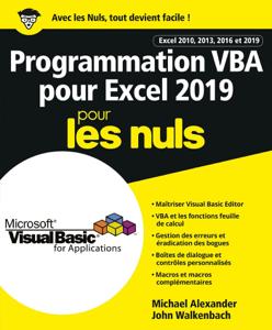 Programmation VBA pour Excel 2019 Pour les Nuls La couverture du livre martien
