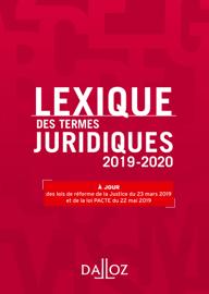 Lexique des termes juridiques 2019-2020 - 27e éd.