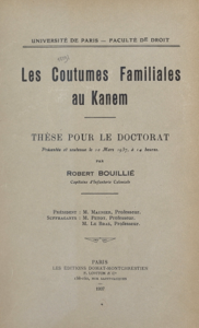 Les coutumes familiales au Kanem Couverture de livre