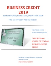 2019 Business Credit with no Personal Guarantee
