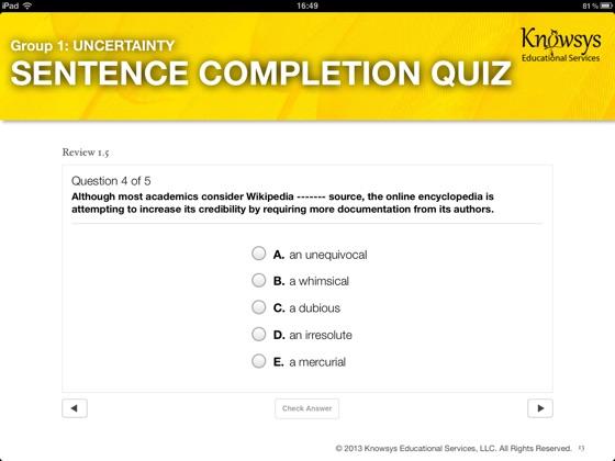 Knowsys Vocab Genius: SAT