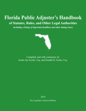 Florida Public Adjuster's Handbook of Statutes, Rules, and Other Legal Authorities