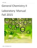 General Chemistry II Laboratory Manual