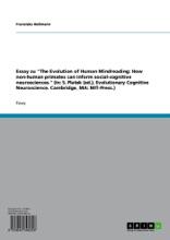 'The Evolution Of Human Mindreading'. Diskussion Der Theory Of Mind Und Beobachtungen Zum Verhalten Und Denken Von Primaten
