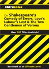 CliffsNotes On Shakespeares The Comedy Of Errors Loves Labours Lost  The Two Gentlemen Of Verona