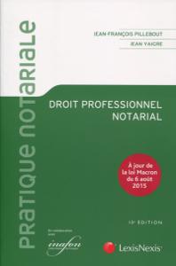 Droit professionnel notarial - 10e Edition La couverture du livre martien