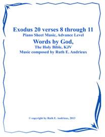 Book Title Exodus 20 Verses 8 Through 11 Piano Sheet Music Advance Level Hymn Style