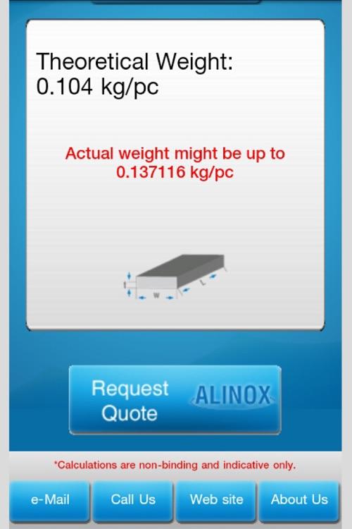 Alinox Metal Weight Calculator screenshot-3