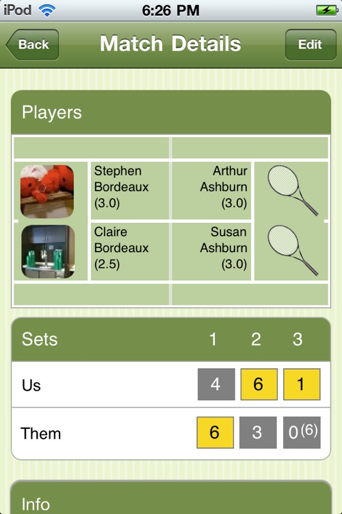 Tennis Match Point - Score Manager, Journal and Statistics