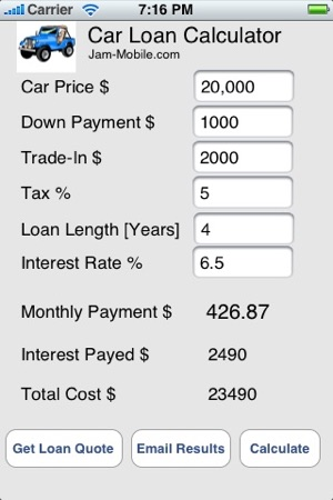 Auto Car Loan Calculator On The App Store