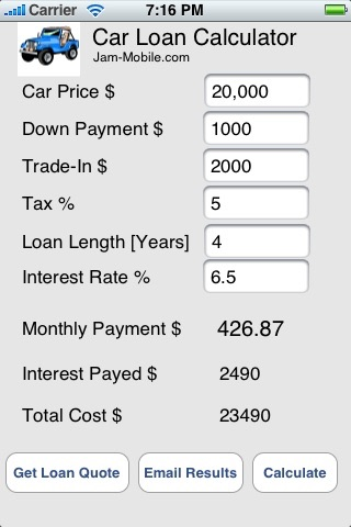 Auto Car Loan Calculator by Jam-Mobile.com