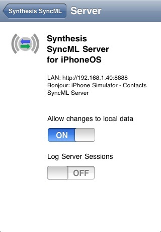 SyncML LITE for iOS screenshot two