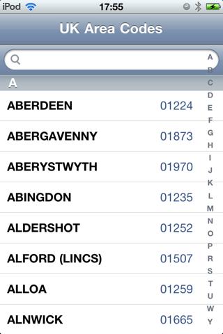 UK STD Area Phone Code Lookup