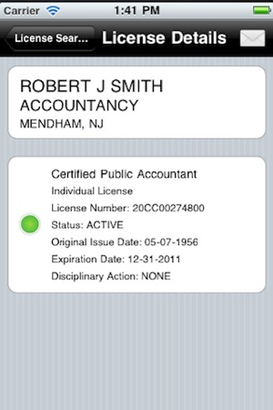 New Jersey Professional License Lookup on the App Store