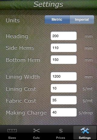 Screenshot of Drapery Calculator