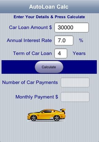 Car Payment On 30000 >> Auto Loan Calc By John Rouda
