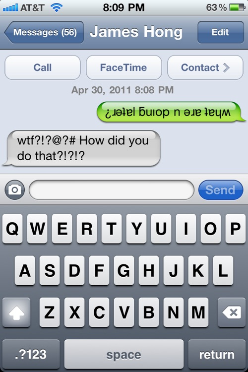 Texting Upside Down Free