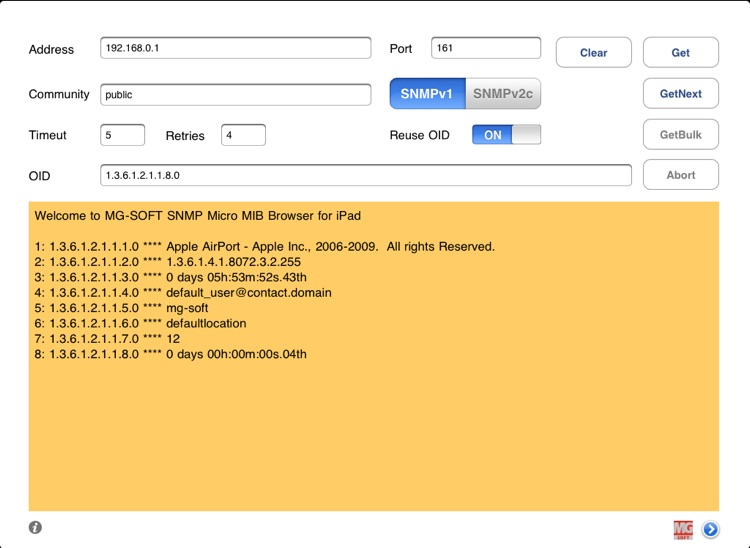 MG-SOFT SNMP Micro MIB Browser