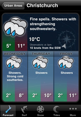 WeatherNZ screenshot one