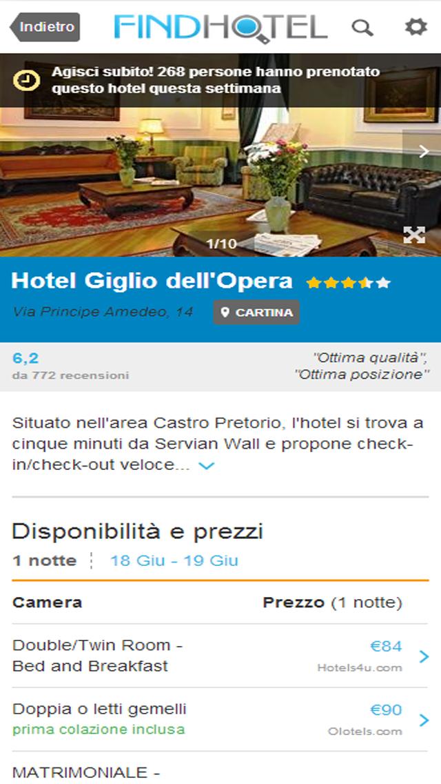 Screenshot of Ricerca Hotel - FindHotel è l'app che confronta i prezzi di alberghi e strutture in tutto il mondo: prenotazioni facili e veloci per soggiorni economici o di lusso, ostelli e B&B, per un weekend o per questa sera, grazie alle offerte last minute!3