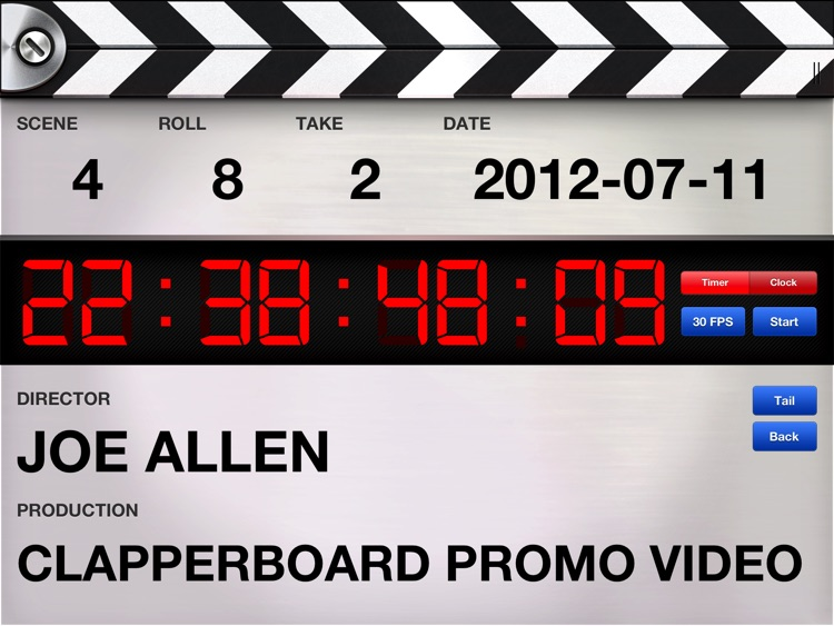 Professional Digital Clapperboard - Timecode Sync and Video Slate screenshot-4