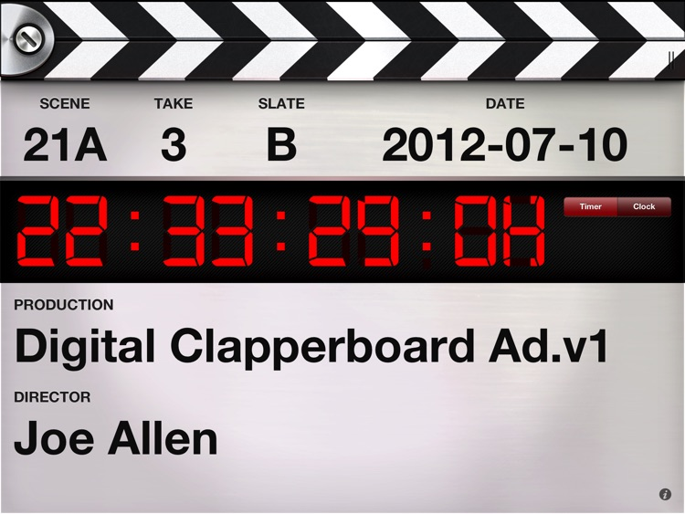 Digital Clapperboard - Timecode Sync and Video Slate