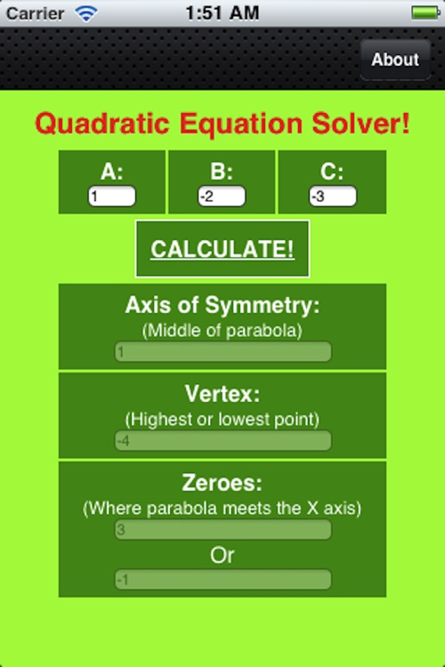 Free Quadratic Equations Solver