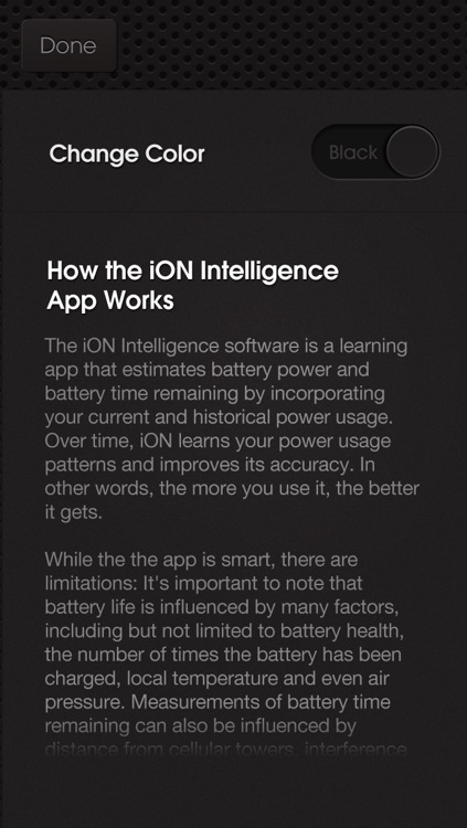 iON Intelligence Battery App