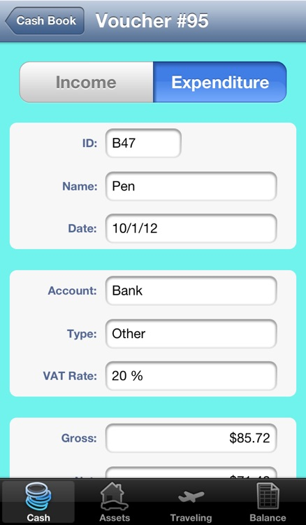 eaGeier - accounting on cash basis - keep track of your income and expenses