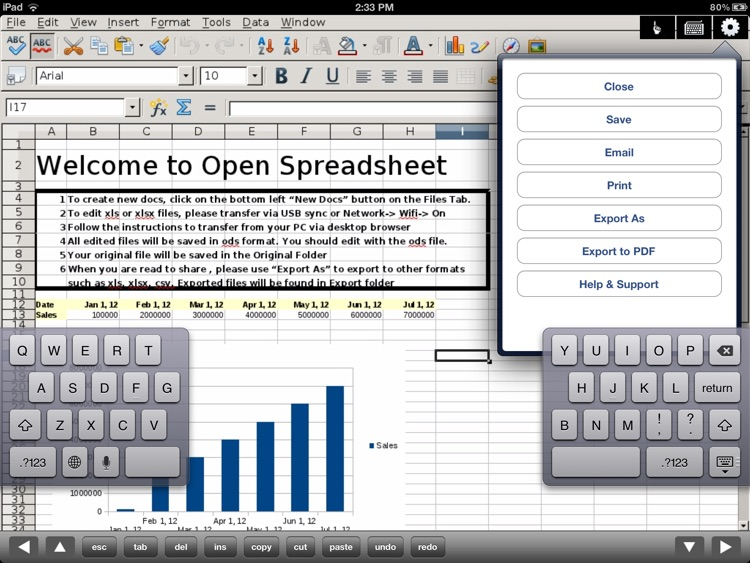 SpreadSheet - Editor of Microsoft Excel XLS files for iPad