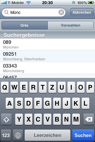 VorwahlFinder Screenshot