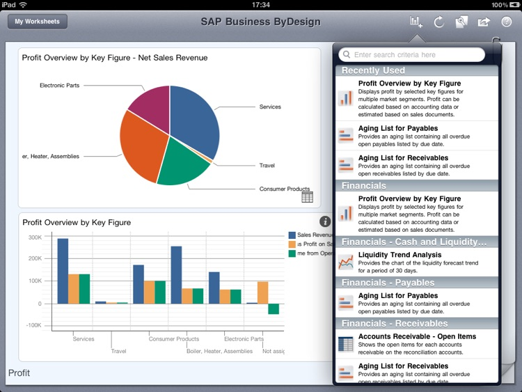 SAP Business ByDesign Dashboard