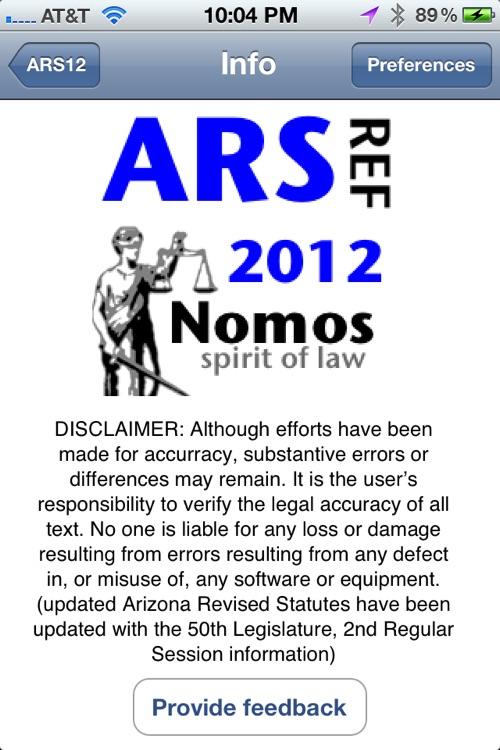 Arizona Statutes (2012 edition) aka ARS12