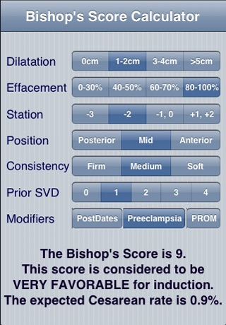 Bishop's Score Calc