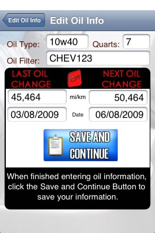 Oil Change - Track any car,truck,motorcyle,boat,chainsaw, etc oil's info: oil,type,filter,mileage all in one app!