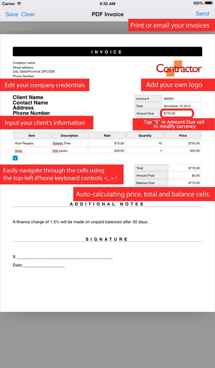 Simple Invoice Maker | Create PDF from your iPhone screenshot-3