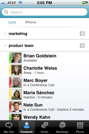 Microsoft Lync 2010 for iPhone on the App Store