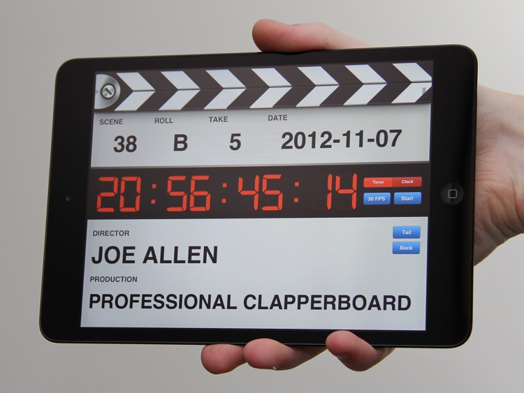 Professional Digital Clapperboard - Timecode Sync and Video Slate