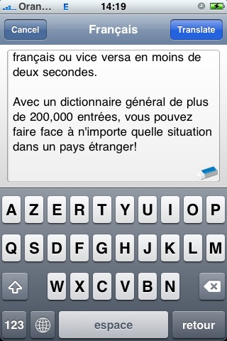 SYSTRAN Mobile Translator English-French