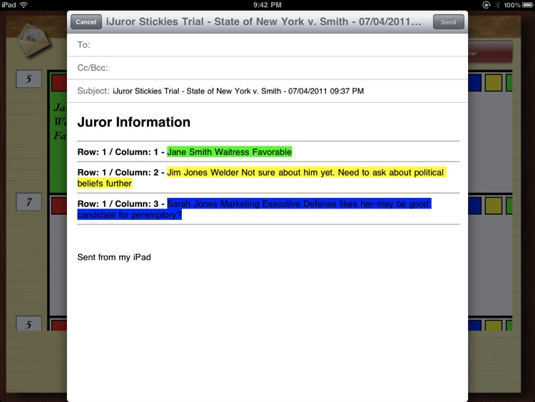 iJuror - Stickies screenshot-3