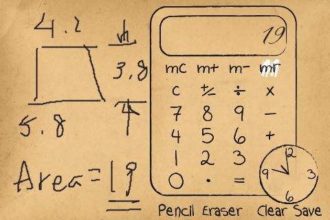 Paper Calculator & Clock - Calculator with sketch pad and clock screenshot-3