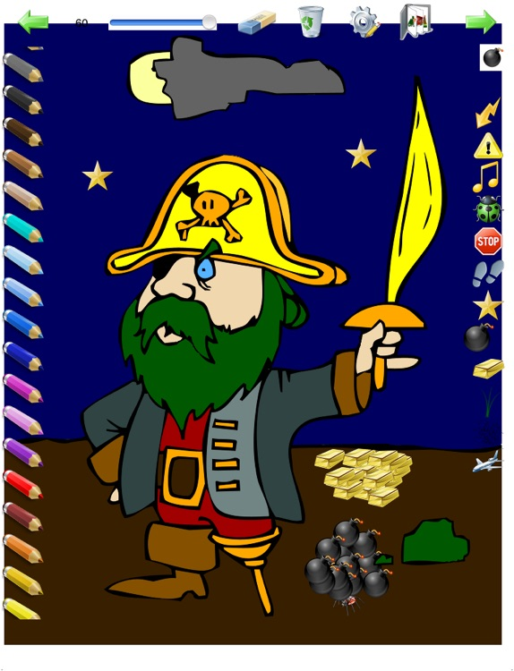 Coloring Book for Boys for iPad with colored pencils - 36 drawings to color with dragons, pirates, cars, and more - HD screenshot-3