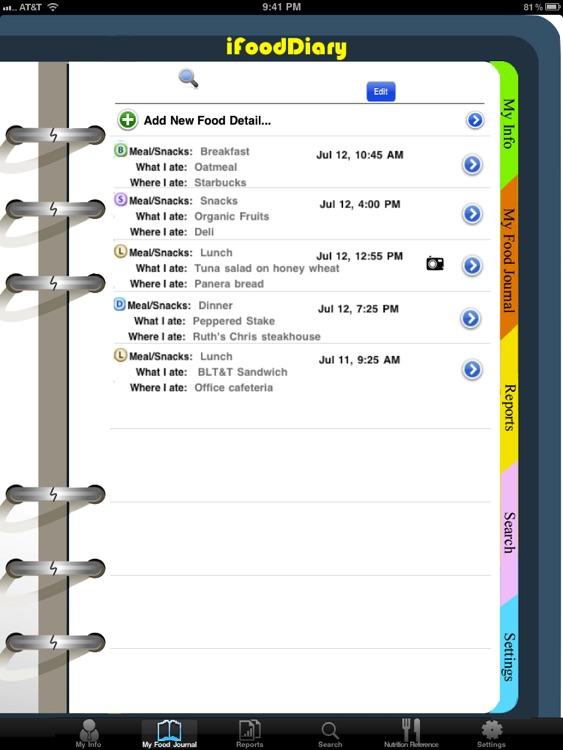 iFood Diary for iPad