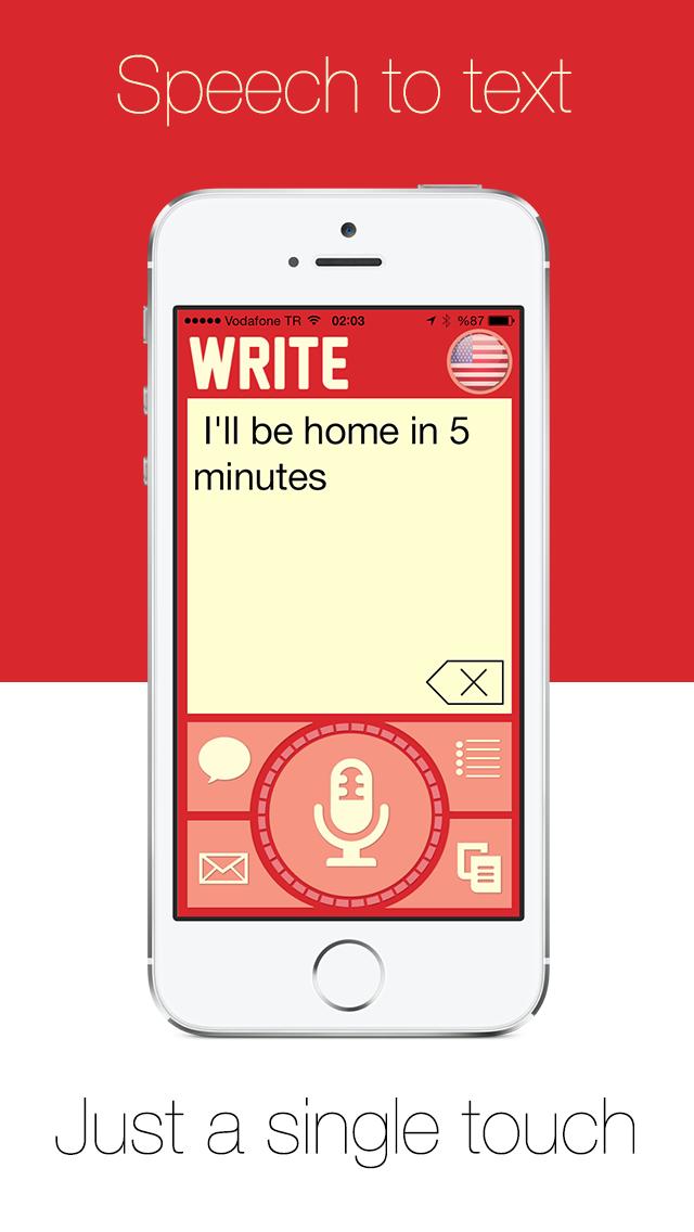 Write - ワンタッチスピーチをダイレクトメッセージのSMSメールやリマインダーでディクテーション、音声認識をテキストに。のおすすめ画像1