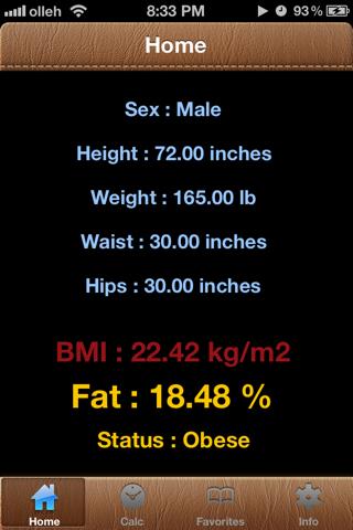 BodyFat Calorie Calculator FREE screenshot one