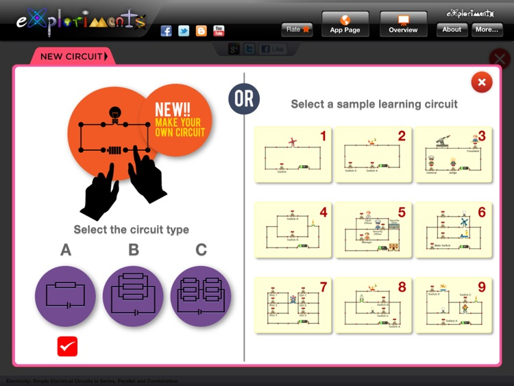 Exploriments: Electricity - Simple Electrical Circuits in Series, Parallel and Combination screenshot-1