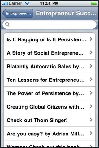Screenshot of Entrepreneur Success