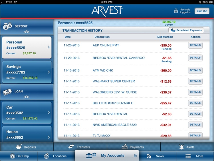 Arvest for iPad