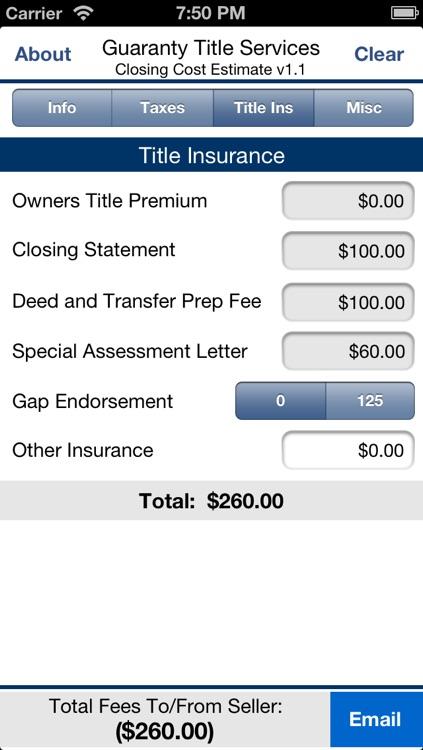 GTS Closing Cost Estimate